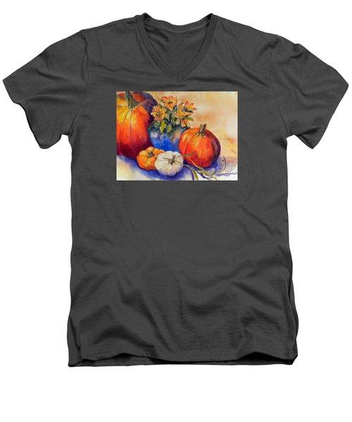 Pumpkins And Blue Vase Men's V-Neck T-Shirt