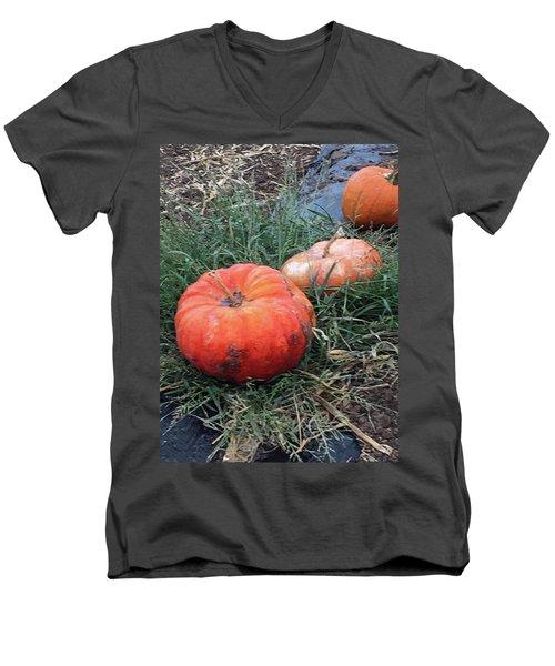 Pumpkins In A Row Men's V-Neck T-Shirt