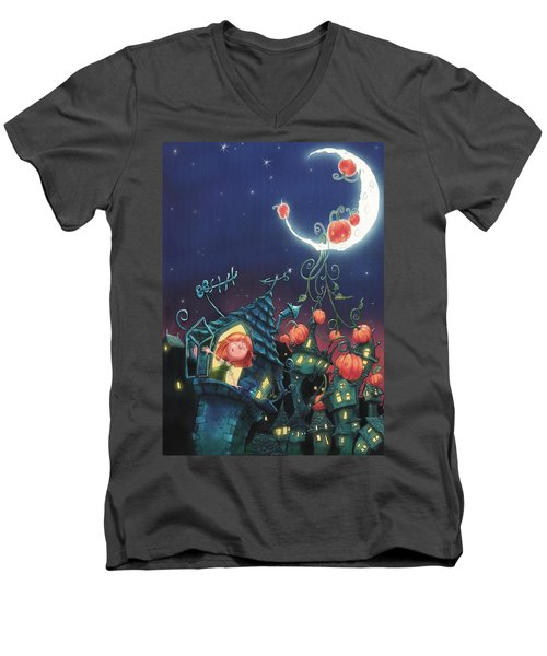Pumpkins On The Moon Men's V-Neck T-Shirt