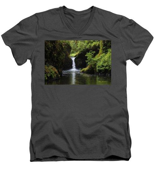Punchbowl Falls Signed Men's V-Neck T-Shirt