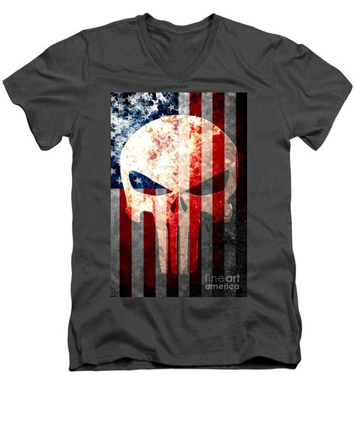 Punisher Skull And American Flag On Distressed Metal Sheet Men's V-Neck T-Shirt by M L C