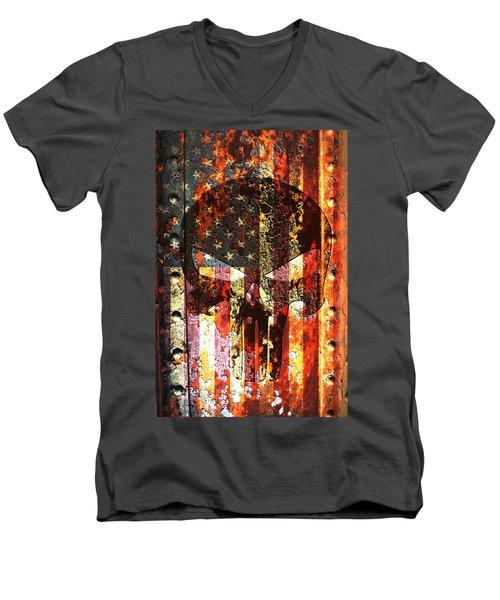 Punisher Skull On Rusted American Flag Men's V-Neck T-Shirt by M L C