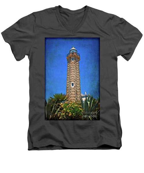 Men's V-Neck T-Shirt featuring the photograph Punto Doncela Lighthouse by Mary Machare
