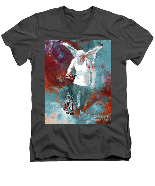 Men's V-Neck T-Shirt featuring the painting Puppet Man 003 by Gull G