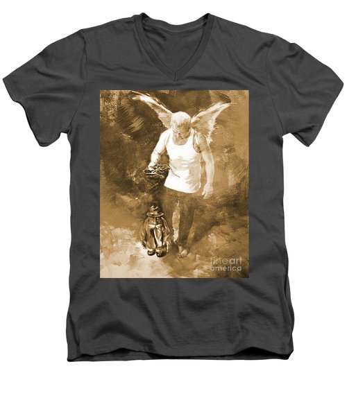 Men's V-Neck T-Shirt featuring the painting Puppet Show by Gull G
