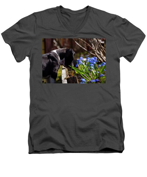 Puppy And Flowers Men's V-Neck T-Shirt by Tamara Sushko