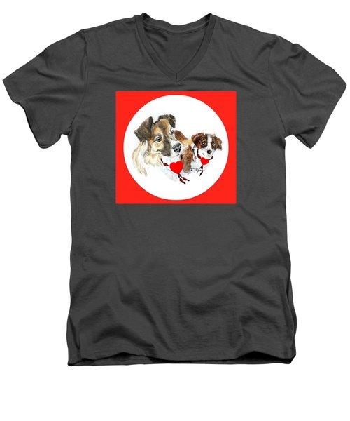 Puppy Christmas Men's V-Neck T-Shirt