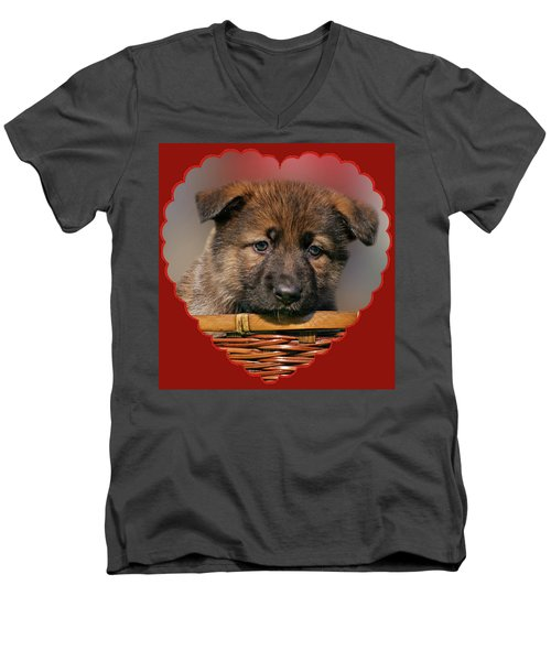 Men's V-Neck T-Shirt featuring the photograph Puppy In Red Heart by Sandy Keeton