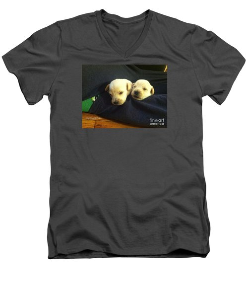 Puppy Love Men's V-Neck T-Shirt by MaryLee Parker