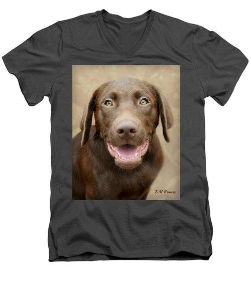 Puppy Power Men's V-Neck T-Shirt by Kathy M Krause