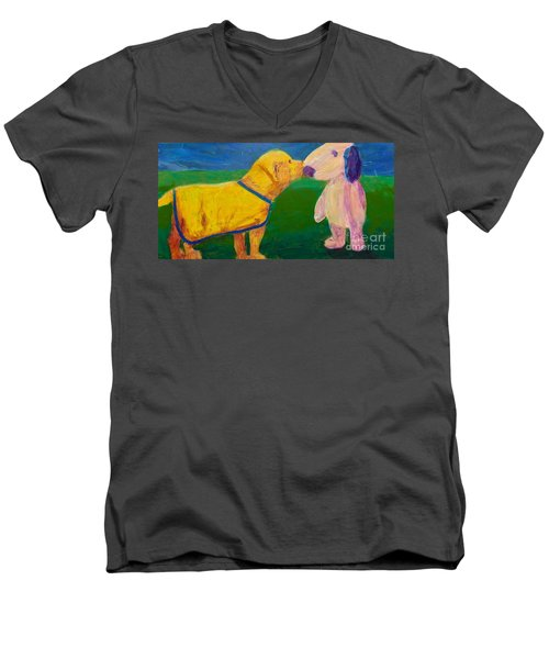 Men's V-Neck T-Shirt featuring the painting Puppy Say Hi by Donald J Ryker III