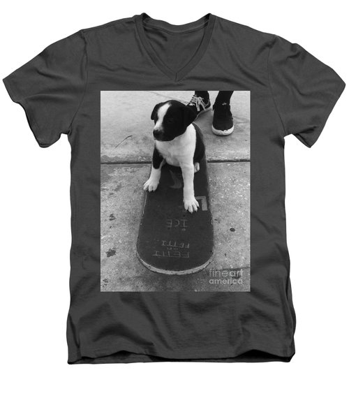 Puppy Skater Men's V-Neck T-Shirt by WaLdEmAr BoRrErO
