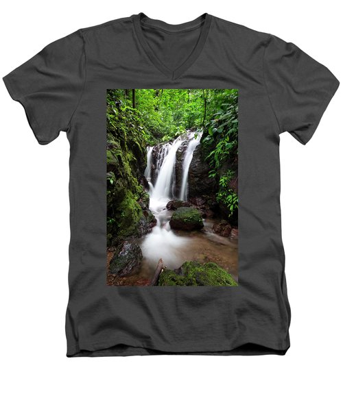 Men's V-Neck T-Shirt featuring the photograph Pura Vida Waterfall by David Morefield
