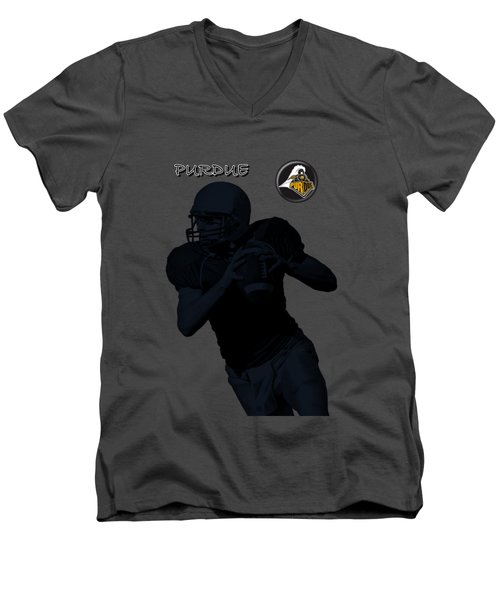 Purdue Football Men's V-Neck T-Shirt by David Dehner