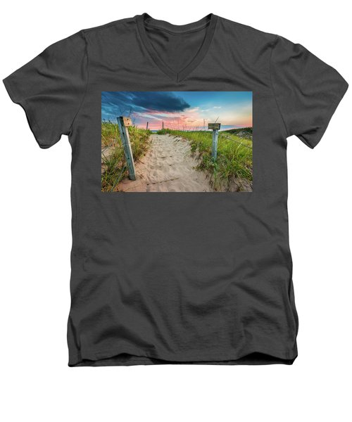 Men's V-Neck T-Shirt featuring the photograph Pure Michigan Sunset by Sebastian Musial