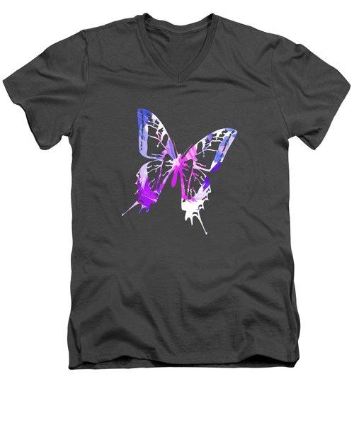 Purple Abstract Paint Pattern Men's V-Neck T-Shirt