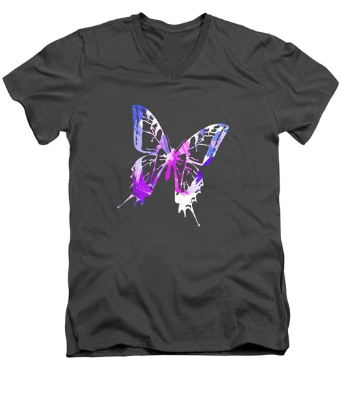 Purple Abstract Paint Pattern Men's V-Neck T-Shirt