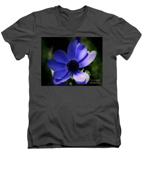 Men's V-Neck T-Shirt featuring the photograph Purple Anemone by Stephen Melia