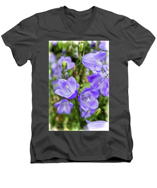 Purple Bell Flowers Men's V-Neck T-Shirt by Joann Copeland-Paul