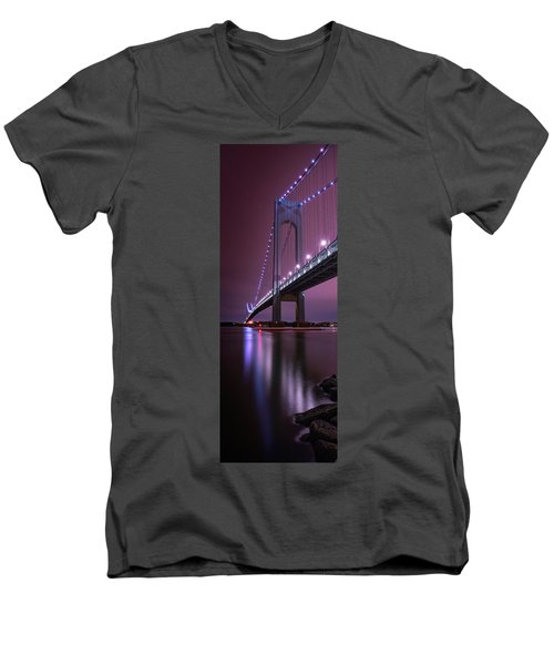 Men's V-Neck T-Shirt featuring the photograph Purple Bridge by Edgars Erglis