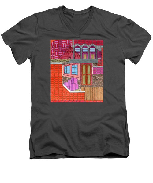 Purple Buildings Men's V-Neck T-Shirt