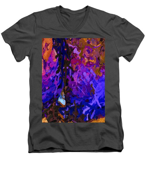 Men's V-Neck T-Shirt featuring the painting Purple Cave by Joan Reese