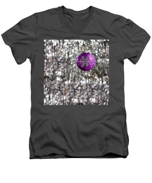 Men's V-Neck T-Shirt featuring the photograph Purple Christmas Bauble  by Ulrich Schade