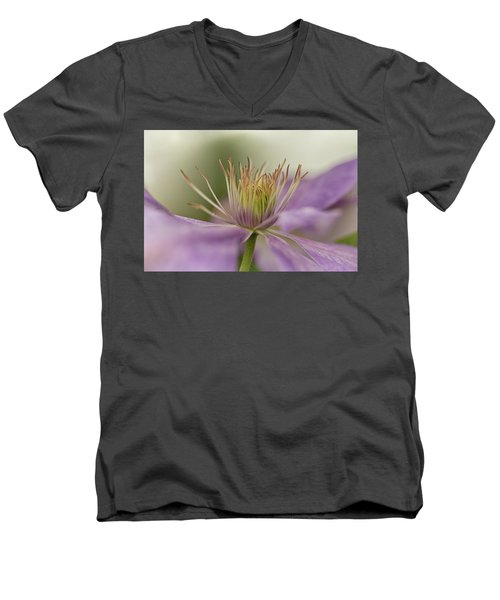 Purple Clematis Macro Men's V-Neck T-Shirt by Jacqi Elmslie