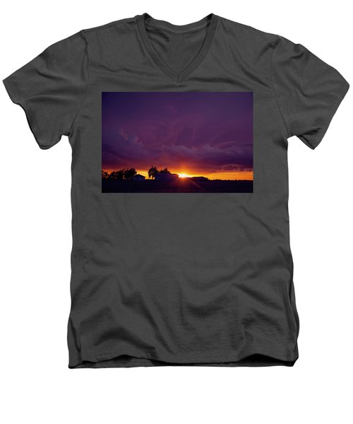 Purple Clouds Men's V-Neck T-Shirt by Toni Hopper