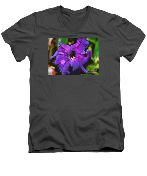 Men's V-Neck T-Shirt featuring the painting Purple Color Of Royalty by Dragica  Micki Fortuna