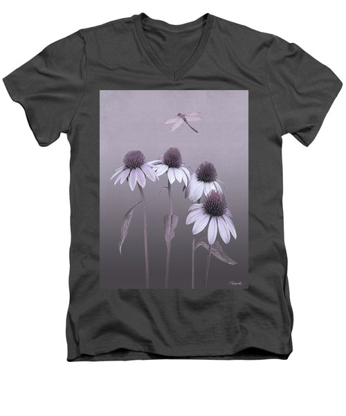 Purple Coneflowers And Dragonfly Men's V-Neck T-Shirt
