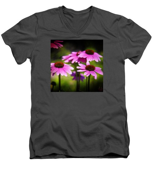 Purple Coneflowers Men's V-Neck T-Shirt by Milena Ilieva