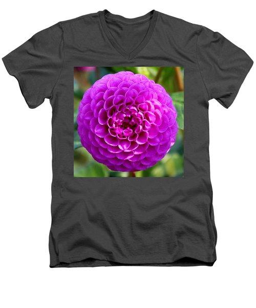Purple Dahlia Men's V-Neck T-Shirt