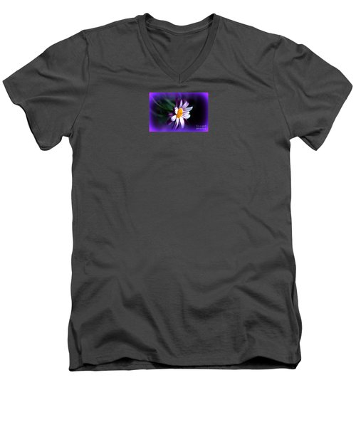 Men's V-Neck T-Shirt featuring the photograph Purple Daisy Flower by Susanne Van Hulst