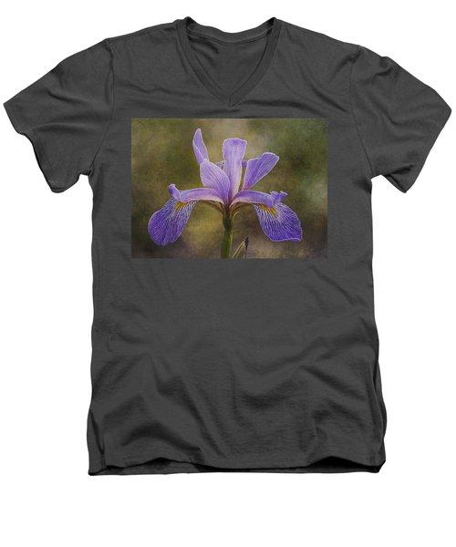 Purple Flag Iris Men's V-Neck T-Shirt by Patti Deters