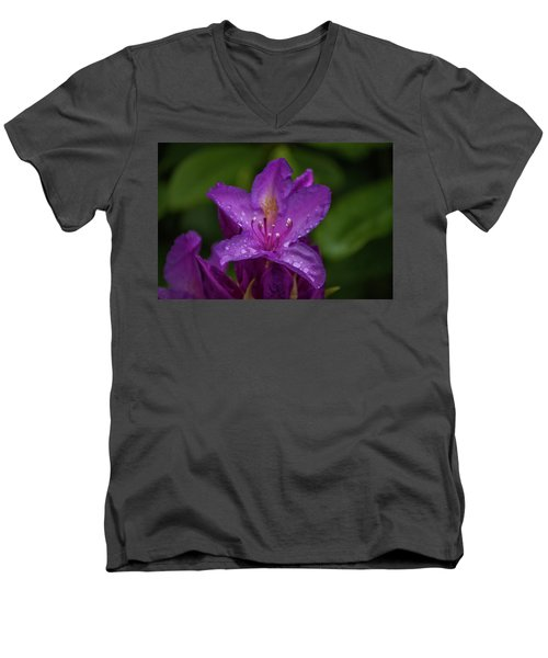 Men's V-Neck T-Shirt featuring the photograph Purple Flower 7 by Timothy Latta