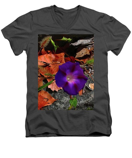 Purple Flower Autumn Leaves Men's V-Neck T-Shirt