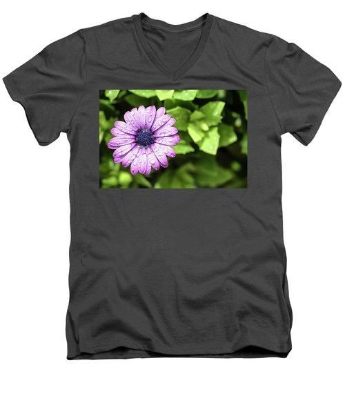 Purple Flower On Green Men's V-Neck T-Shirt