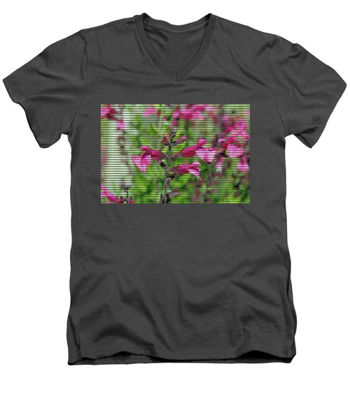Purple Flower T-shirt Men's V-Neck T-Shirt by Isam Awad