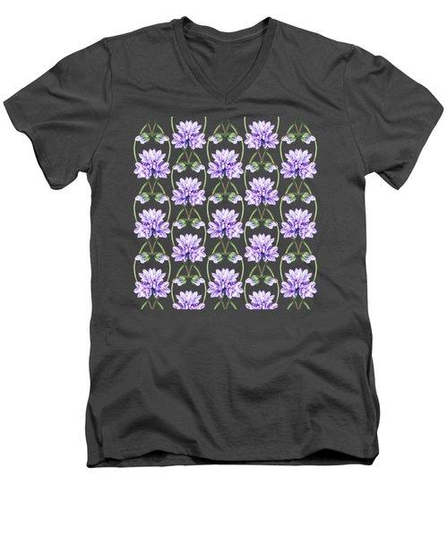 Purple Flowers Hearts Pattern Men's V-Neck T-Shirt