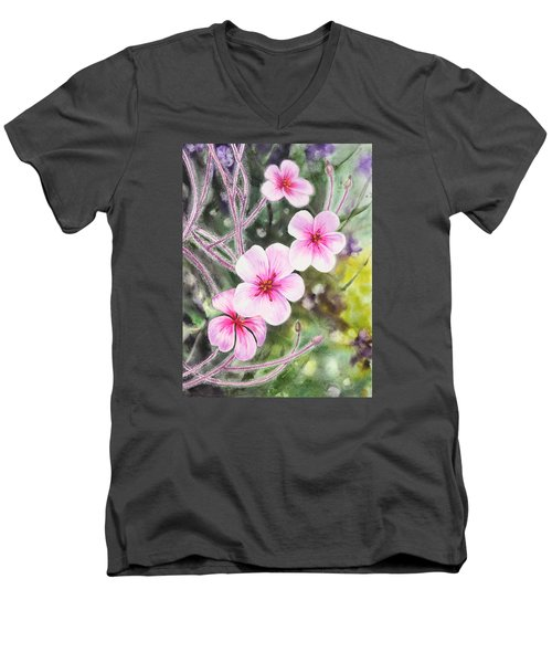 Men's V-Neck T-Shirt featuring the painting Purple Flowers In Golden Gate Park San Francisco by Irina Sztukowski