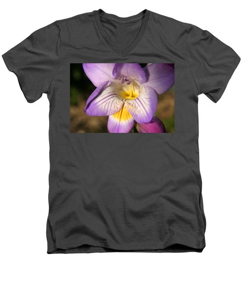 Purple Fresia Flower Men's V-Neck T-Shirt by Ralph A  Ledergerber-Photography