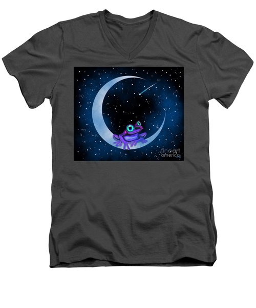 Men's V-Neck T-Shirt featuring the painting Purple Frog On A Crescent Moon by Nick Gustafson