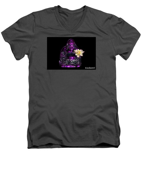 Men's V-Neck T-Shirt featuring the photograph Purple Glass Buddah With Yellow Lotus Flower by Gary Crockett