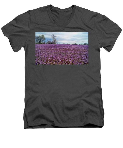 Men's V-Neck T-Shirt featuring the photograph Purple Haze by Cricket Hackmann