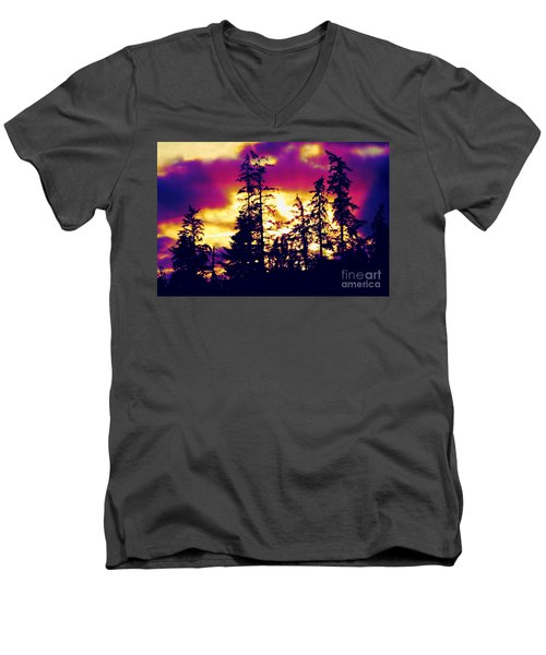 Men's V-Neck T-Shirt featuring the photograph Purple Haze Forest by Nick Gustafson