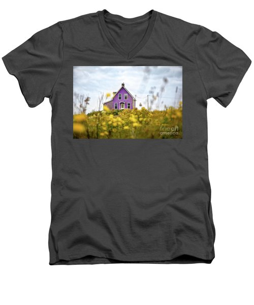 Purple House And Yellow Flowers Men's V-Neck T-Shirt