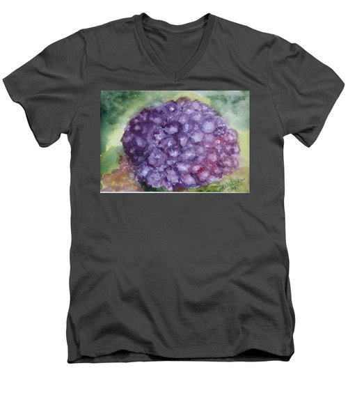 Men's V-Neck T-Shirt featuring the painting Purple Hydrangea by Donna Walsh