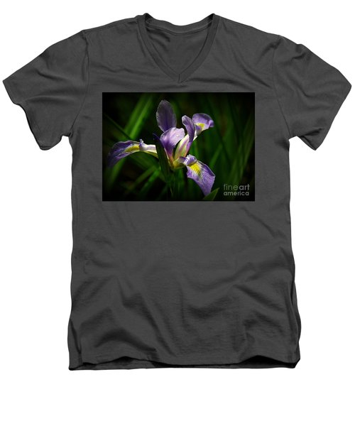 Purple Iris Men's V-Neck T-Shirt by Lisa L Silva