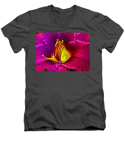 Men's V-Neck T-Shirt featuring the photograph Purple Lily by Bill Barber